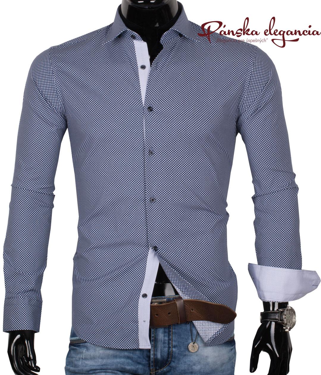 40030-AD-125 Modrá pánska košeľa s bielymi bodkami - ADRIANO CALITRI
