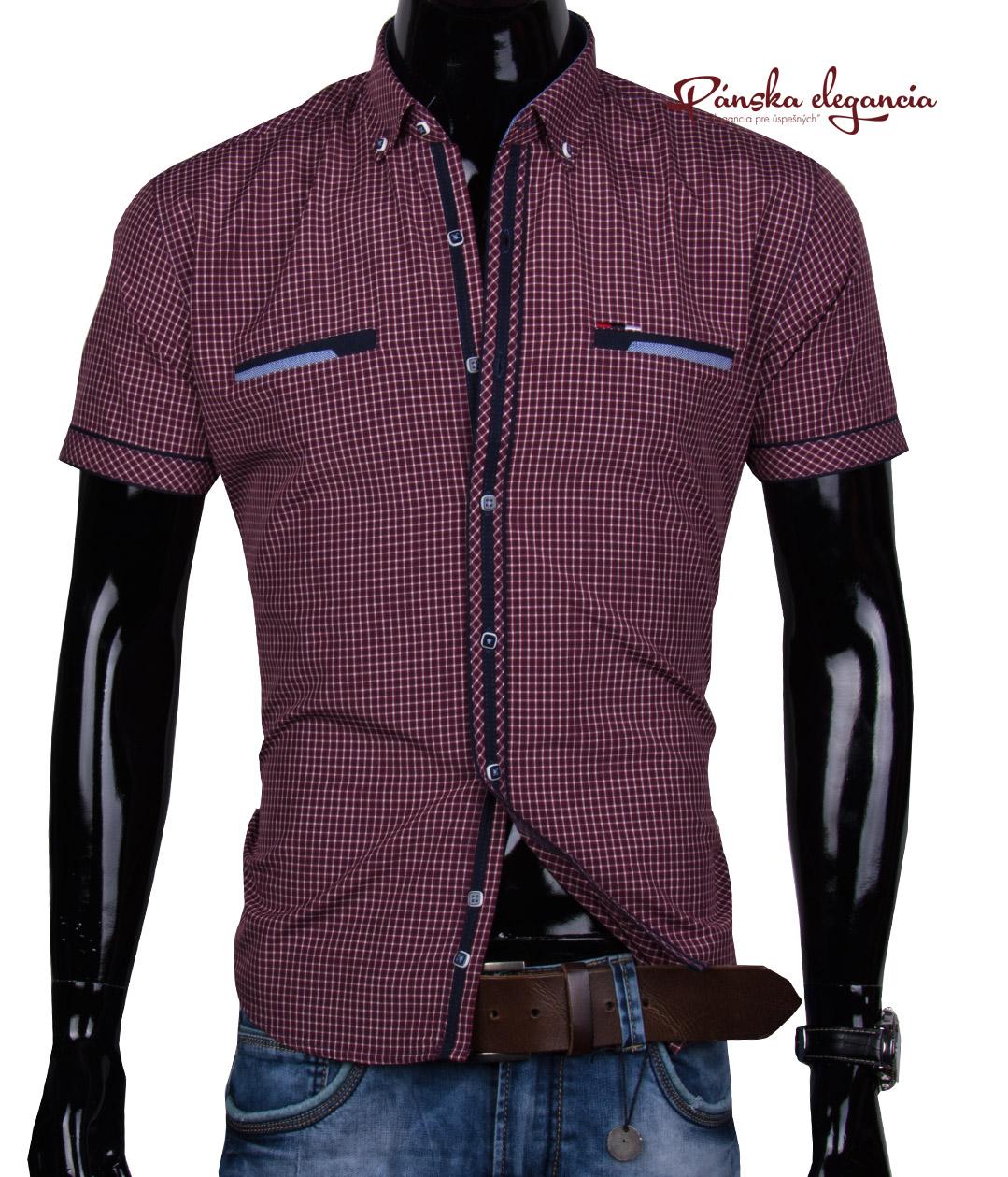 40024-DS-K-1 Pánska károvaná košeľa - krátky rukáv.