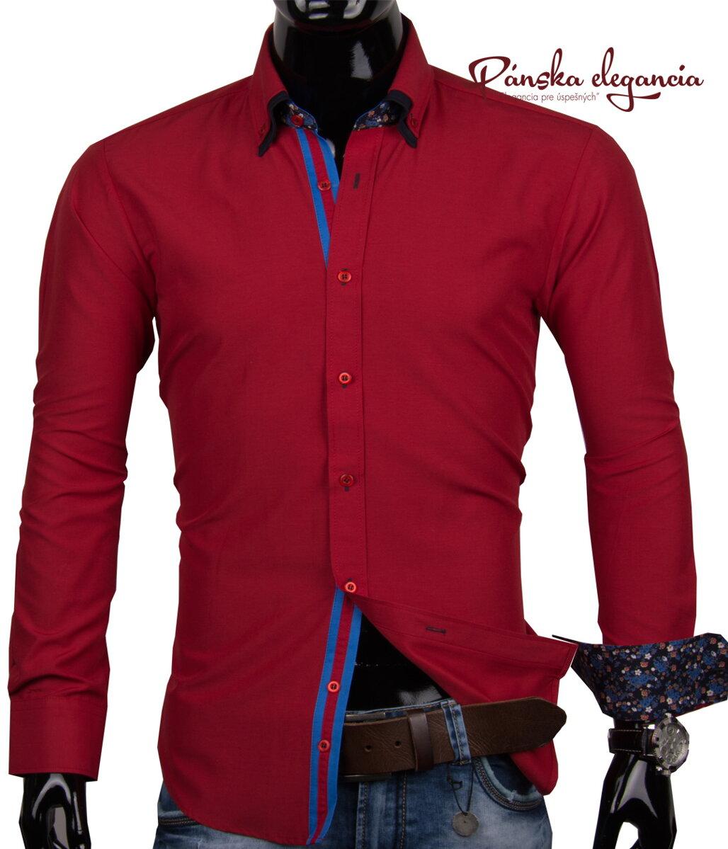 5b732a7e6d09 40030-AD-164 Sýto červená pánska košeľa ADRIANO CALITRI