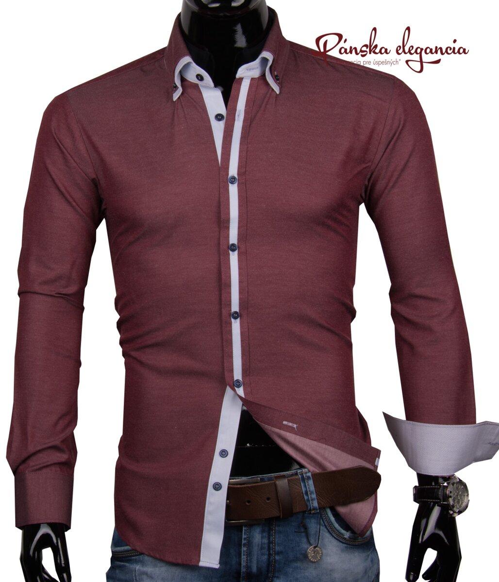 53dda0bb8 40030-AD-170 Pánska košeľa bordovej farby ADRIANO CALITRI