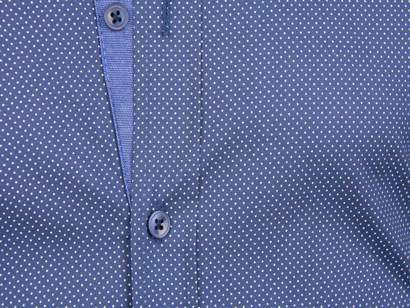260229e1858c Modrá košeľa s bodkovaným vzorom ADRIANO CALITRI - SLIM FIT