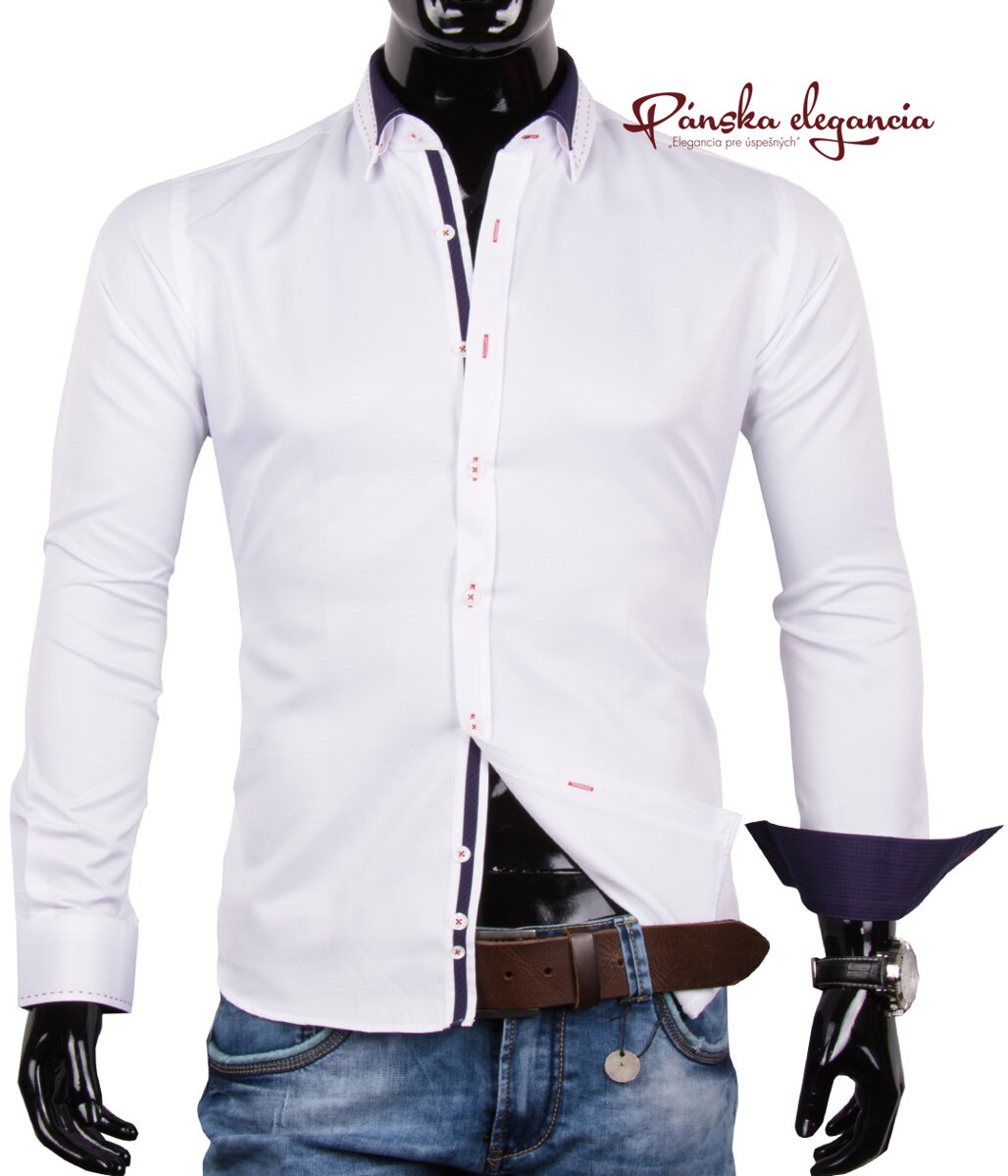 5c98f97b9987 11072-PL-8 Elegantná biela pánska košeľa s TOP detailami PAKO LORENTE