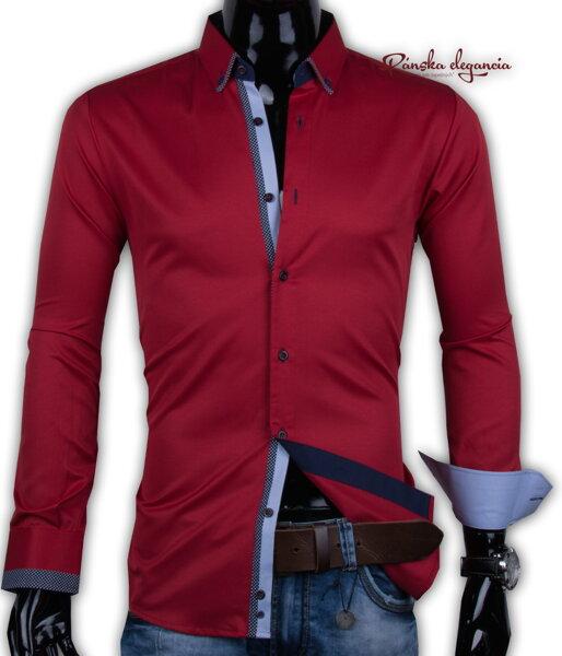 f70b577d73d8 40030-AD-235 Červená pánska košeľa ADRIANO CALITRI - SLIM FIT
