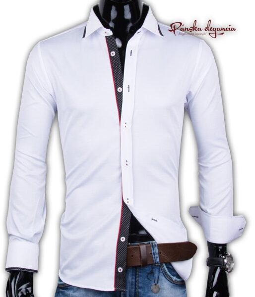 02ade3fc6d5f 40030-AD-239 Štýlová biela košeľa pre pánov ADRIANO CALITRI - SLIM FIT
