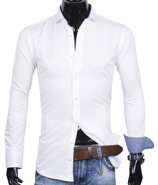 695791ada305 40030-AD-254 Elegantná biela pánska košeľa ADRIANO CALITRI - SLIM FIT