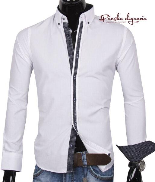 38b0977924f7 30016-EM-285 Elegantná biela pánska košeľa EGO MAN
