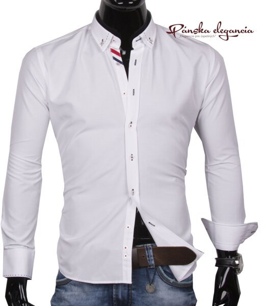 b396c7cde9c3 30016-EM-289 Biela pánska košeľa EGO MAN