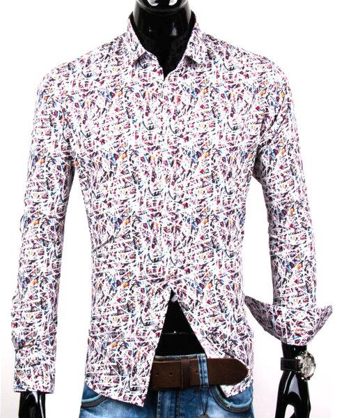 cd28eeb722f7 30016-EM-398 Štýlová pánska košeľa so vzorom EGO MAN