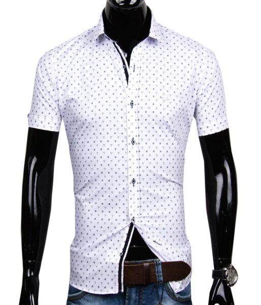52b71c40a1c3 Biela košeľa s krátkym rukávom EGO MAN - SLIM FIT