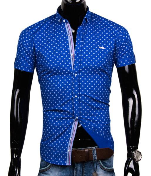 18692e8f9441 Modrá košeľa s krátkym rukávom EGO MAN - SLIM FIT