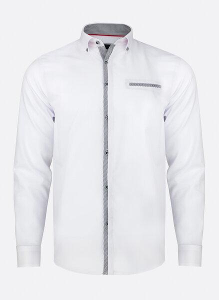 1cf6116910b6 11942-PL-34 Biela pánska košeľa so šedými prvkami PAKO LORENTE