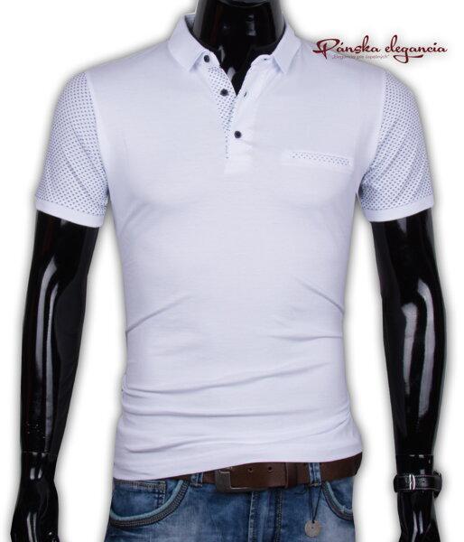 000bb41833c4 11052-11 Trendové biele pánske polo tričko EXPOMAN