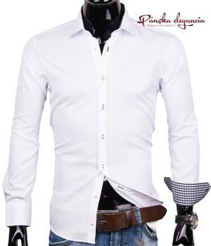 40030-AD-174 Biela elegantná pánska košeľa ADRIANO CALITRI 5476492f771