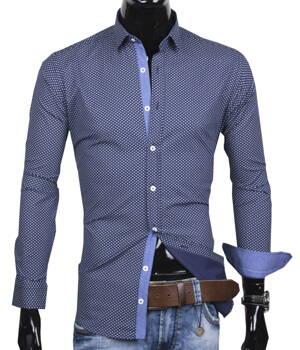 ce9b8bd2e 40030-AD-244 Modrá košeľa so vzorom ADRIANO CALITRI - SLIM FIT