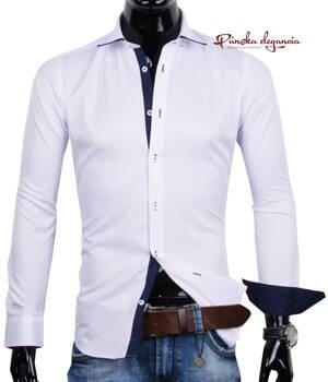 67730c0a7879 11072-EE-10 Elegantná biela pánska košeľa ERNANDO EMILIO