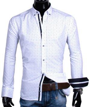 d09ad412eee2 30016-EM-332 Biela košeľa s modrým geometrickým vzorom EGO MAN