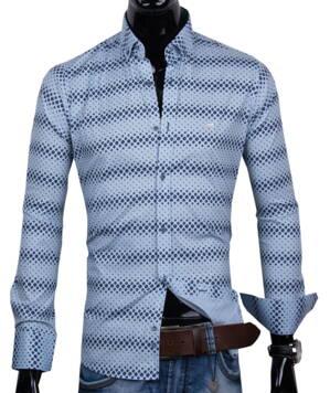 55806008c 30016-EM-379 Trendová modrá košeľa EGO MAN - SLIM FIT
