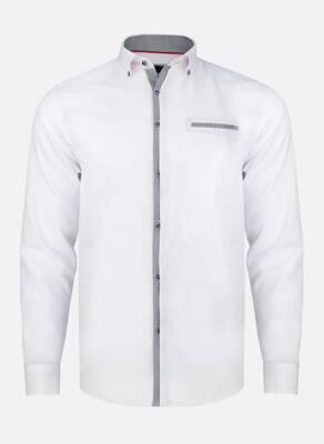 7bfc9c0fc 11942-PL-34 Biela pánska košeľa so šedými prvkami PAKO LORENTE