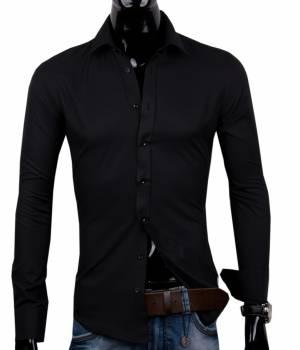 ad2a9809d571 12018-SE-2 Čierna pánska košeľa Di Selentino Salzburg Black - SLIM FIT