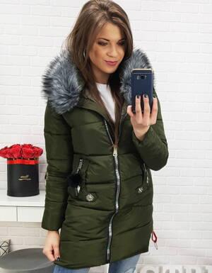 0df5d27bd295 Zimná dámska bunda v trendovej khaki farbe (ty0500)