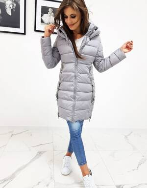 Moderná dámska svetlo sivá bunda na zimu (ty0510) 23c7629fd71