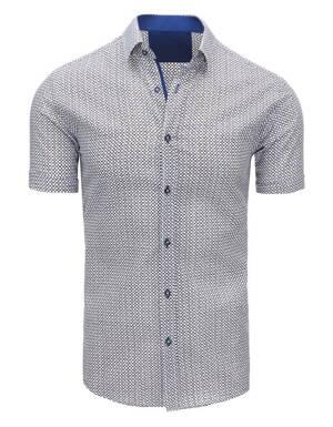 fd218ed3f84c Biela košeľa s trendy vzorom (kx0826)