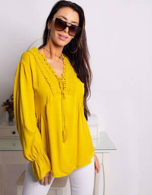 72f3785f314e Krásna dámska blúzka v žltej farbe MIGUELA (ry0654)
