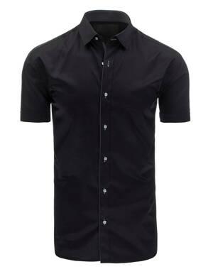 8a09d65a9f52 Čierne elegantná košeľa krátkym rukávom (kx0752)