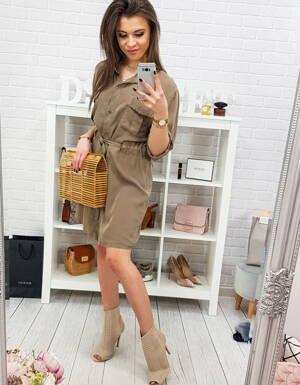 7e4f70c599 Trendy košeľové šaty vo farbe cappicino (ey0766)
