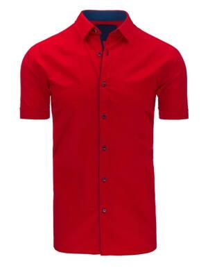 db91231eb9b8 Štýlová červená pánska košeľa s krátkym rukávom (kx0776)