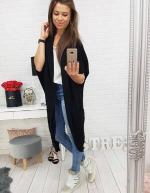 Perfektný dámsky dlhý sveter bez zapínania čiernej farby (my0343) f191f0970f0