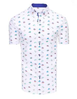 7f9b3b21d8af Biela košeľa so vzorom farebných rybičiek (kx0853)