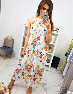 a9031e732b Biele dámske šaty s kvietkami MAXI SUMMER (ey0880)