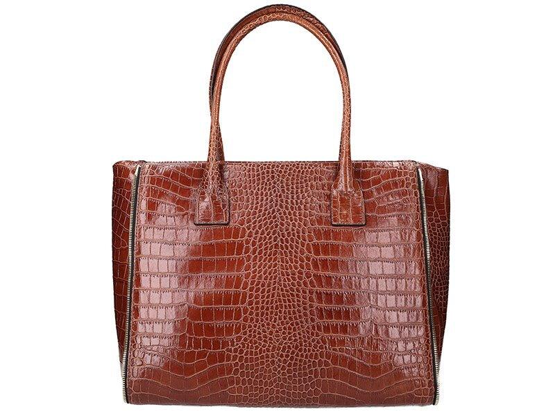 Elegantná kožená kabelka Innue E363. Hnedá Čierna 47bc3b7a566