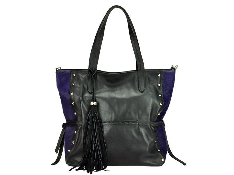 Čierna kožená kabelka Innue E261 5aa444966da