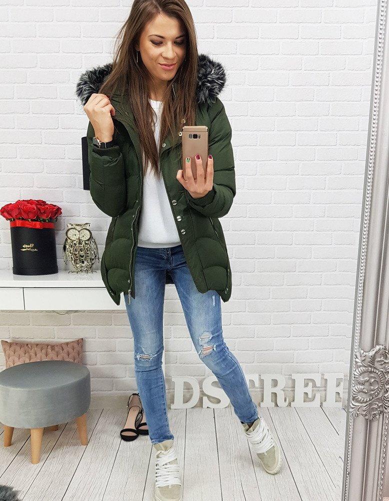 78c23021f9aa1 Zelená dámska bunda na zimu s kapucňou (ty0460)