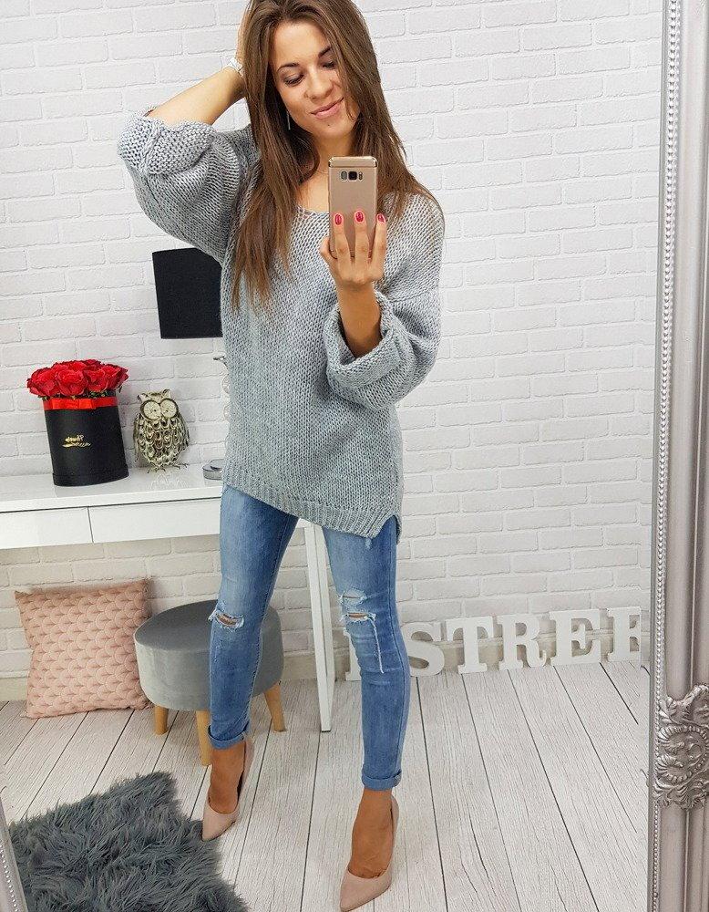 Šedý dámsky oversize sveter (my0271) 0f106e8514a
