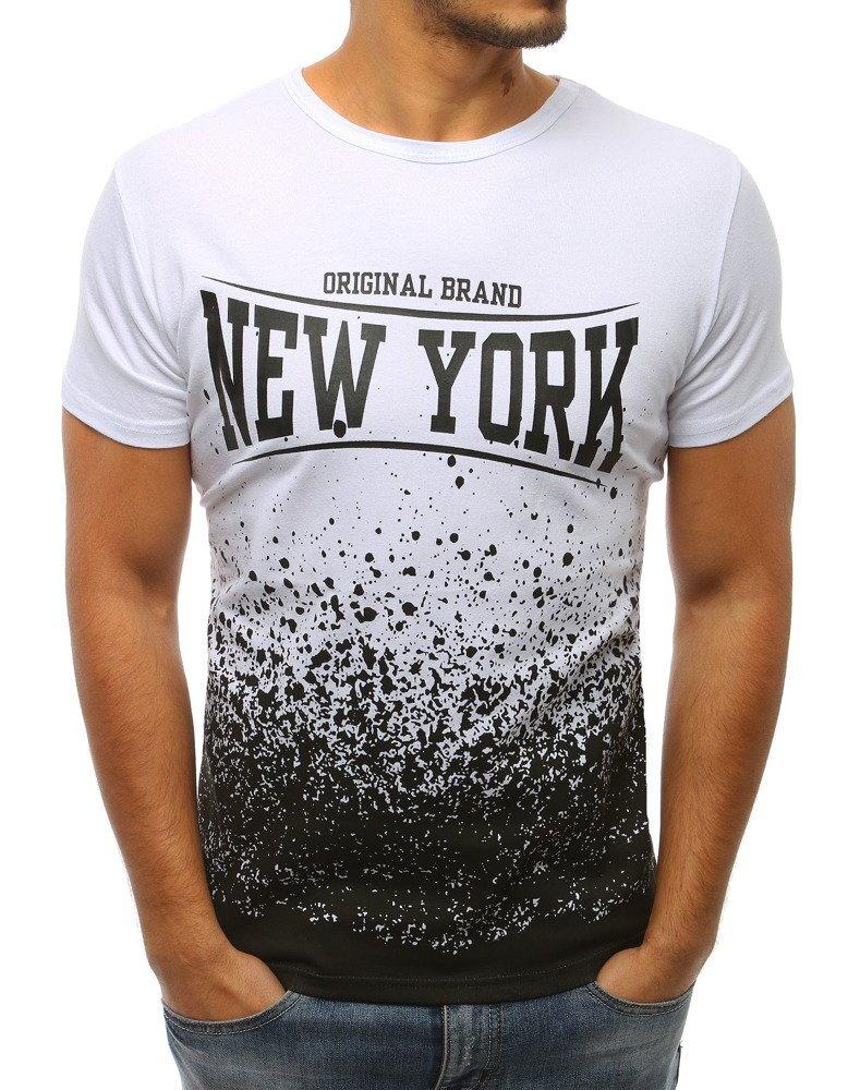 7eede6515 Pánske biele tričko s čiernou potlačou (rx2971) skl.