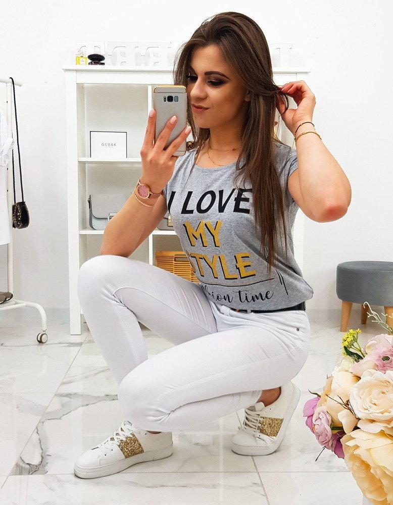 bf3559fc749c Dámske pohodlné tričko svetlo-sivej farby (ry1124)