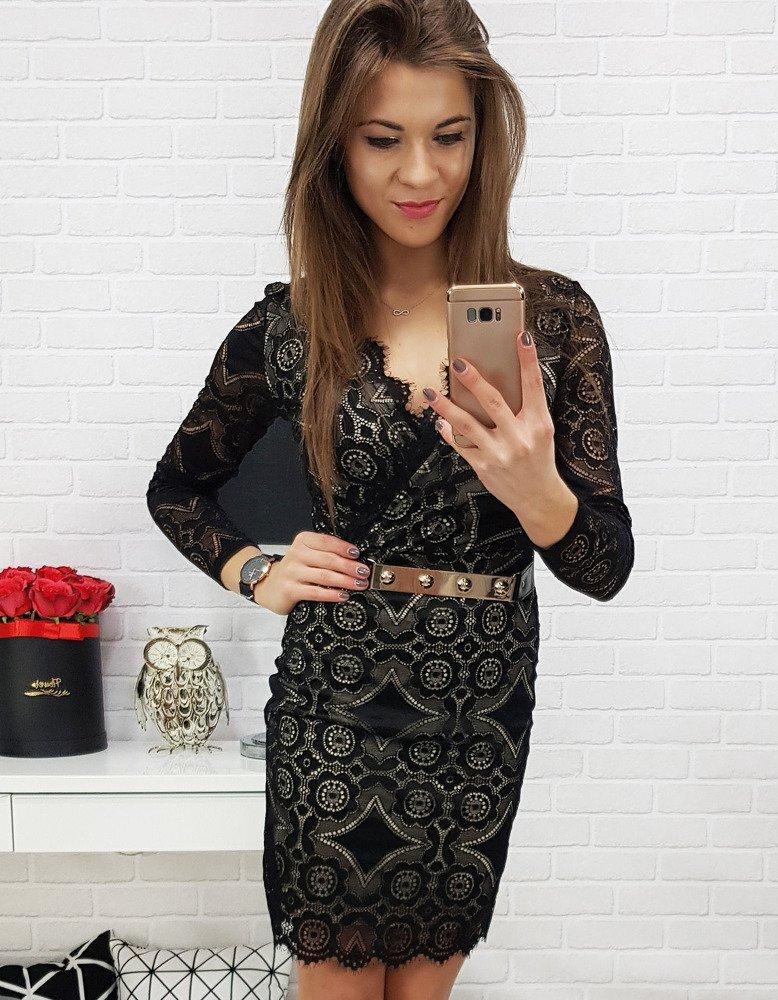 Dámske čierne čipkované šaty (ey0632) 5cb9d513f51