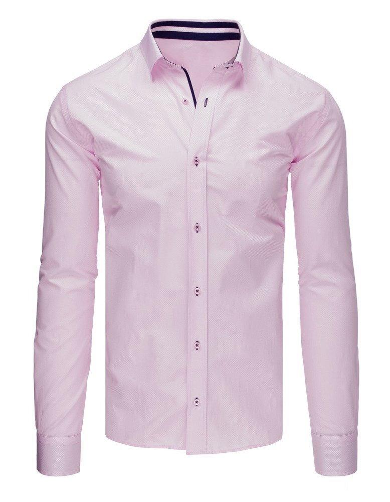 d33033dc9e3d Ružová elegantná pánska košeľa so vzorom (dx1653)