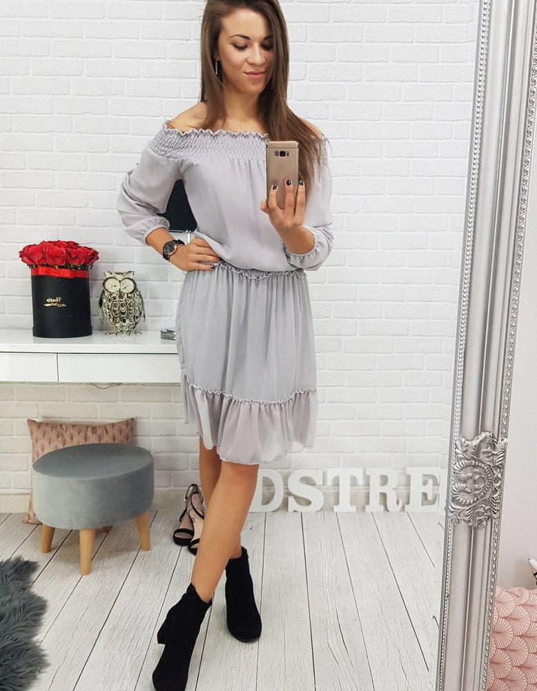1fb55ac997e5 Dámske sivé šaty v módnom prevedení (ey0503)