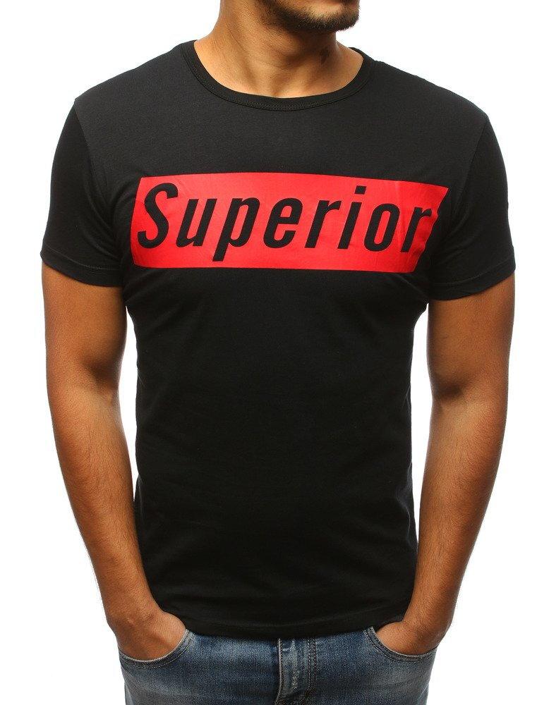 86449d48c4a4 Čierne pánske tričko s potlačou (rx2972)