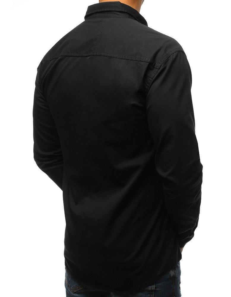 d42993655198 Moderná čierna pánska košeľa s vreckami (dx1540). PrevNext