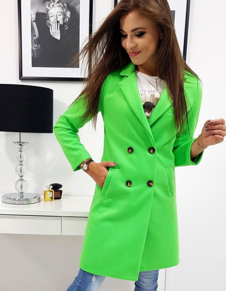 dc49919925 Dvojradový neónovo-zelený jarný kabát SOLEO (ny0246)