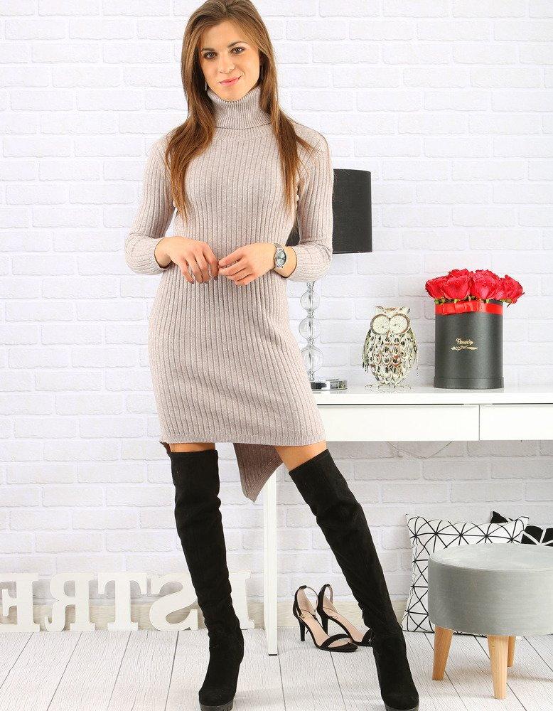 36cbea336b33 Béžové dámske pletené šaty (ey0581)