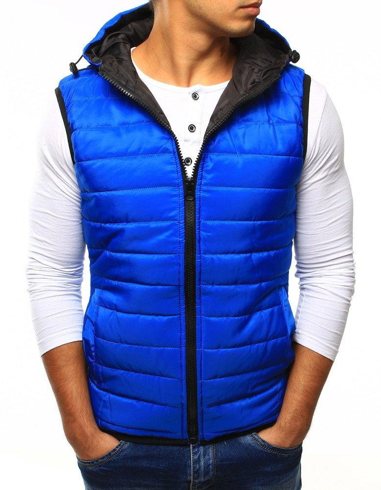 f6ae5b6b7b99 Modrá pánska vesta s kapucňo.