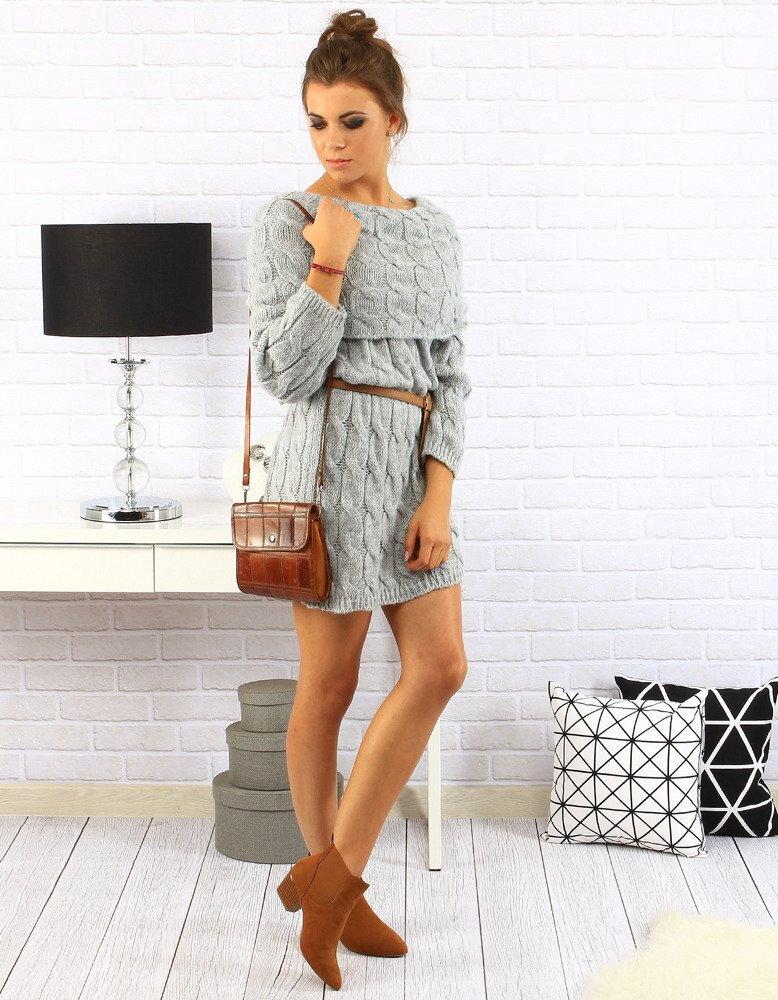 1bc17f62f538 Dámske pletené sivé šaty (ey0141)