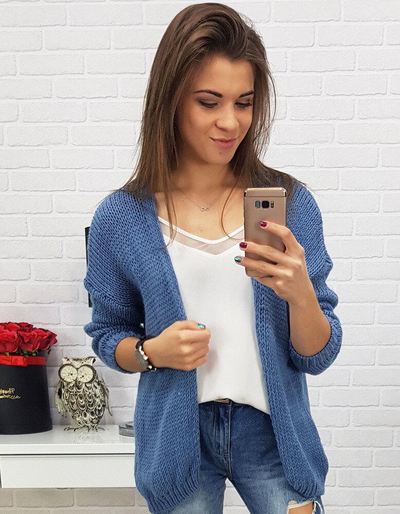 Modrý dámsky pletený sveter (my0491) b08d9af871f