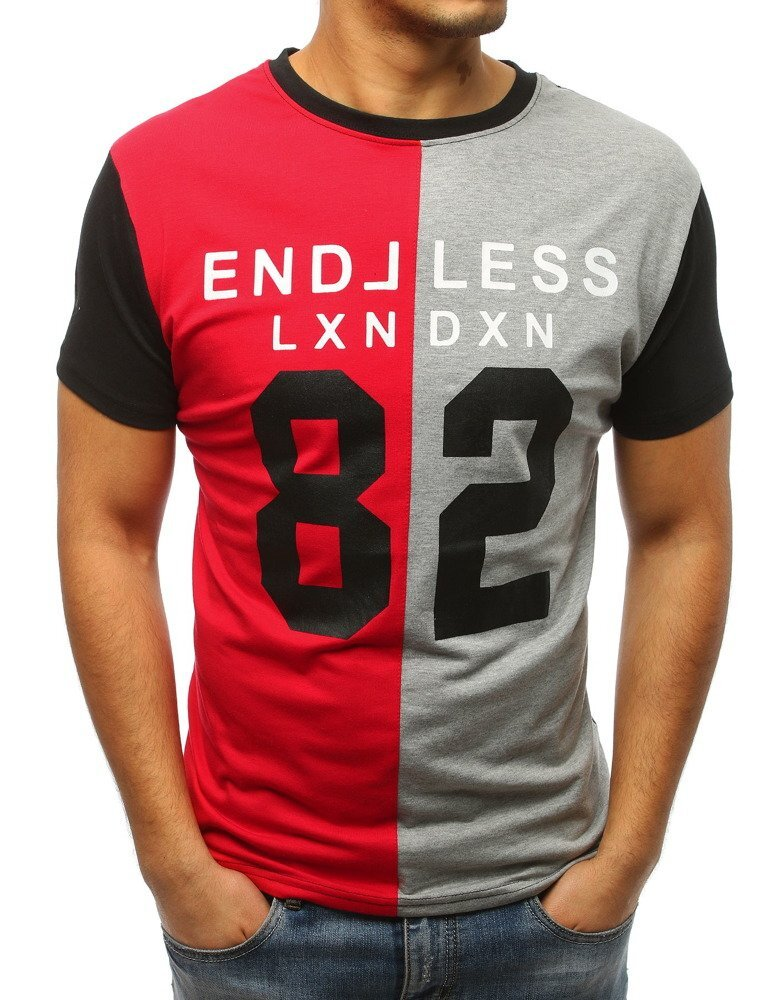236a96e4c Červeno-šedé pánske tričko s potlačou (rx3037)
